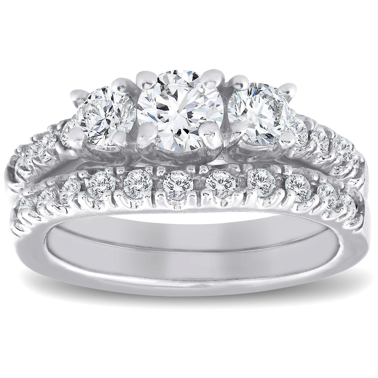1 12 Ct 3 Kamień Diament Pierścionek Zaręczynowy Pasujące