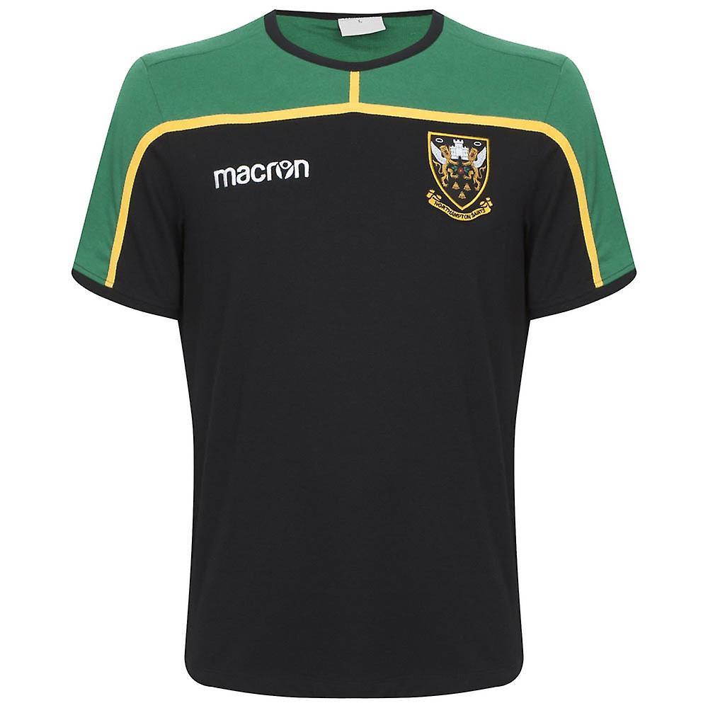 abdf989c3 2018-2019 Northampton Saints Macron Travel Polycotton Polo Shirt (Black)