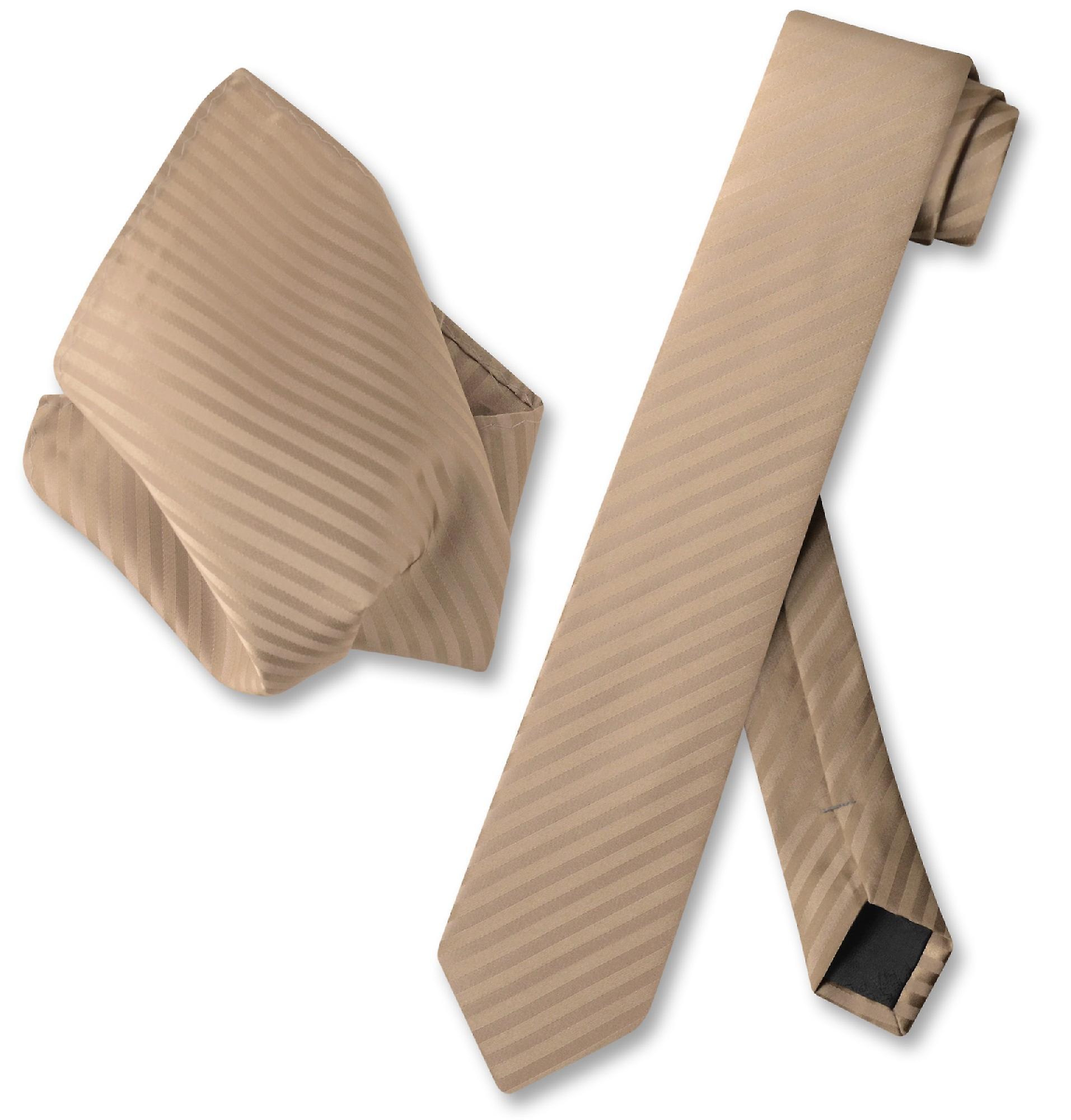 "New Vesuvio Napoli Men/'s 2.5/"" skinny Neck Tie /& Hankie set necktie Stripes brown"