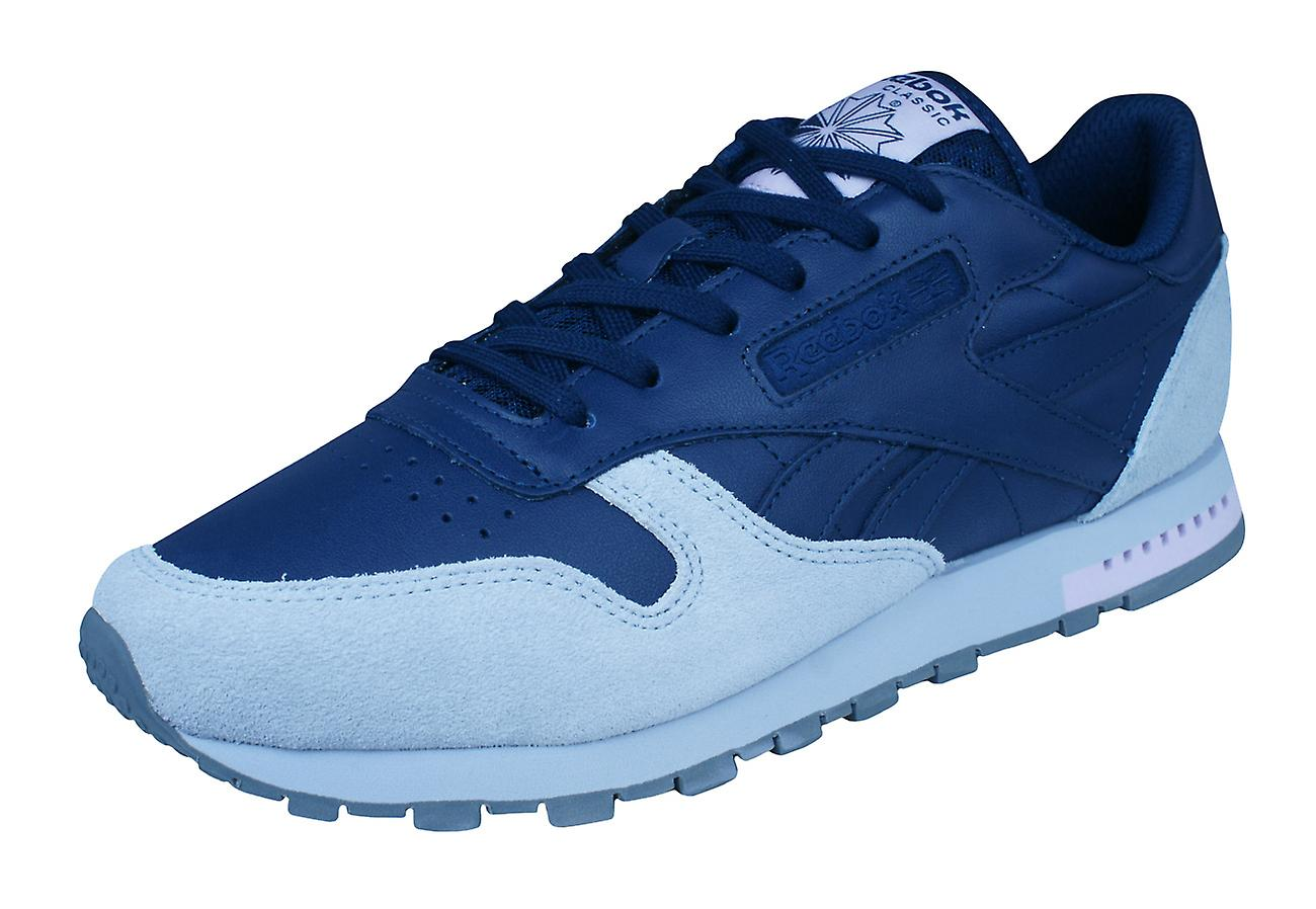 6b9fb579d44 Reebok Classic Leather Womens Trainers   Shoes - Navy and Grey