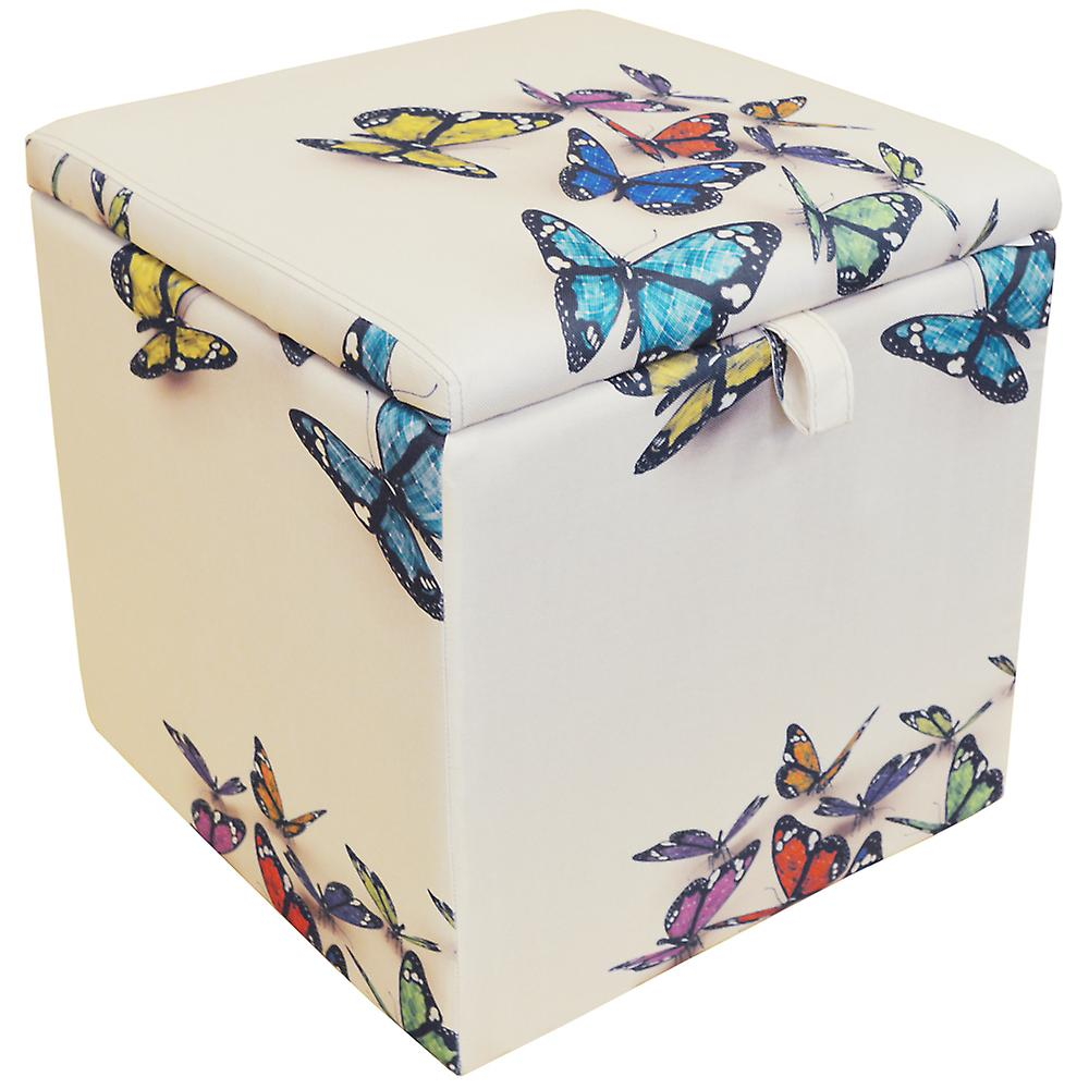 Incredible Butterfly Square Storage Ottoman Stool Blanket Box Cube Cream Multi Alphanode Cool Chair Designs And Ideas Alphanodeonline