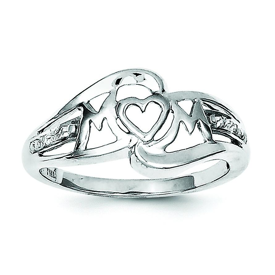 93d044e346bb4 Sterling Silver Polished Prong set Open back Rhodium-plated Rhodium Plated  Diamond Heart Mom Ring - Ring Size: 6 to 8