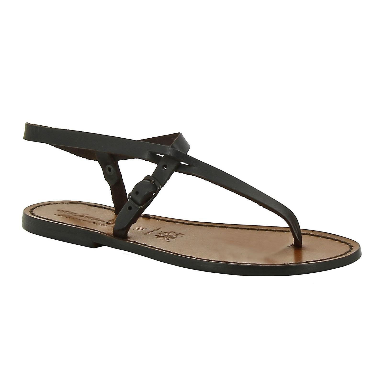 00108df8540307 Handmade leather thong sandals for women in dark brown