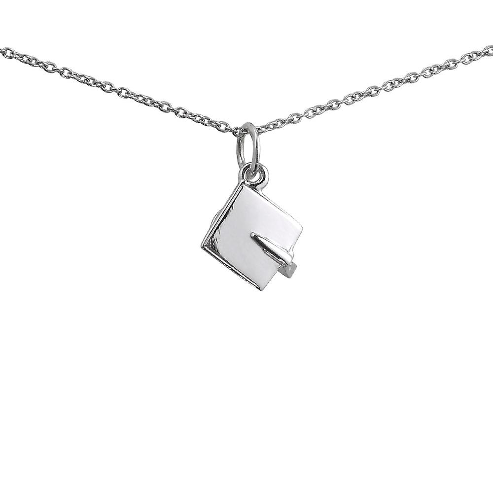 Silver 9x9mm Graduation Cap Pendant With A 1mm Wide Rolo
