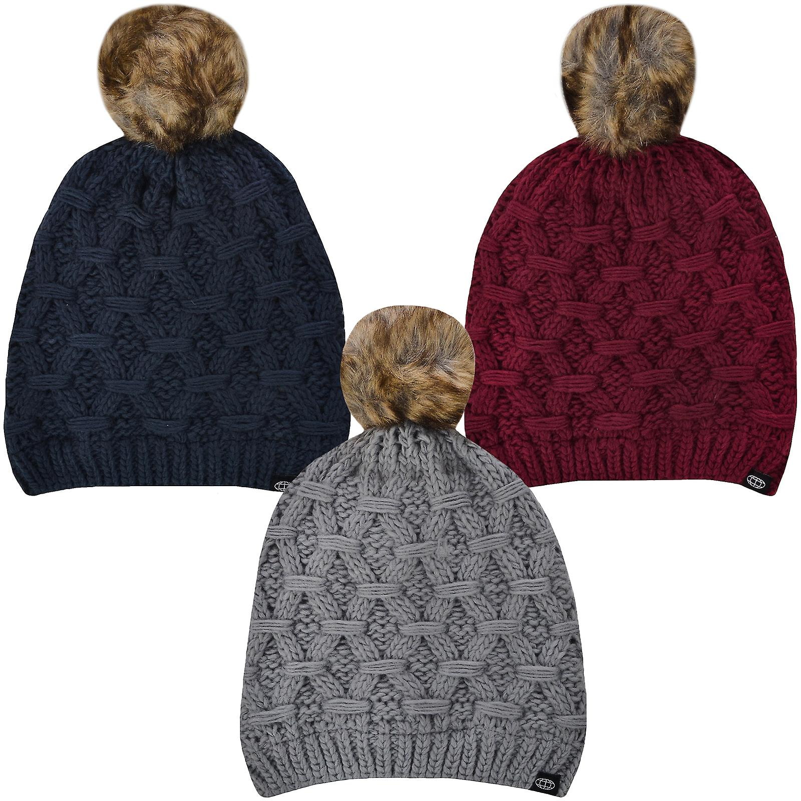 ProClimate Womens Thinsulate Waterproof Winter Knitted Pom Pom Beanie  Bobble Hat 549fcaf6919