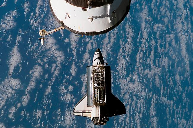 Space Shuttle Atlantis and International Space Station Awesome Poster 71