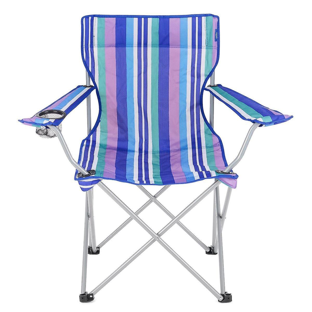 Yello Folding Beach Chair For Camping Fishing Or Beach Blue Stripes