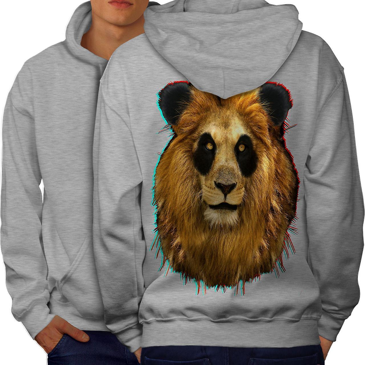 3D Lion Panda Face Men GreyHoodie Back | Wellcoda