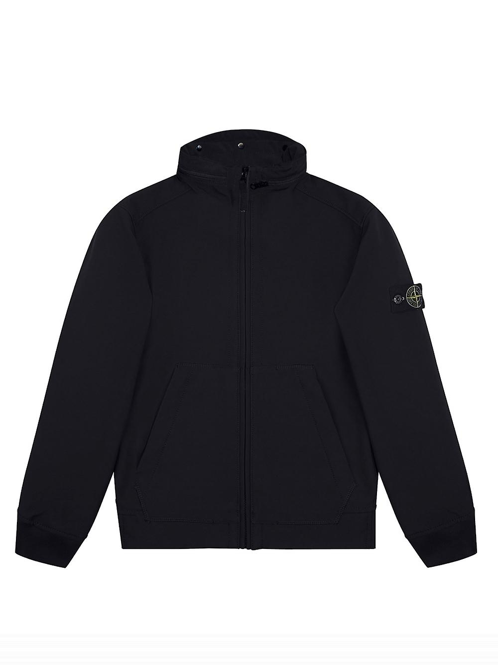10485914a Stone Island Junior Stone Island Junior Navy Soft Shell-R Concealed Hood  Jacket