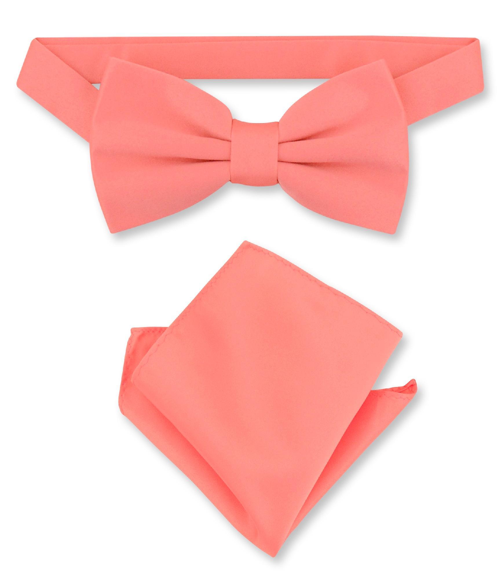 Vesuvio Napoli BowTie Solid Red Color Mens Bow Tie /& Handkerchief