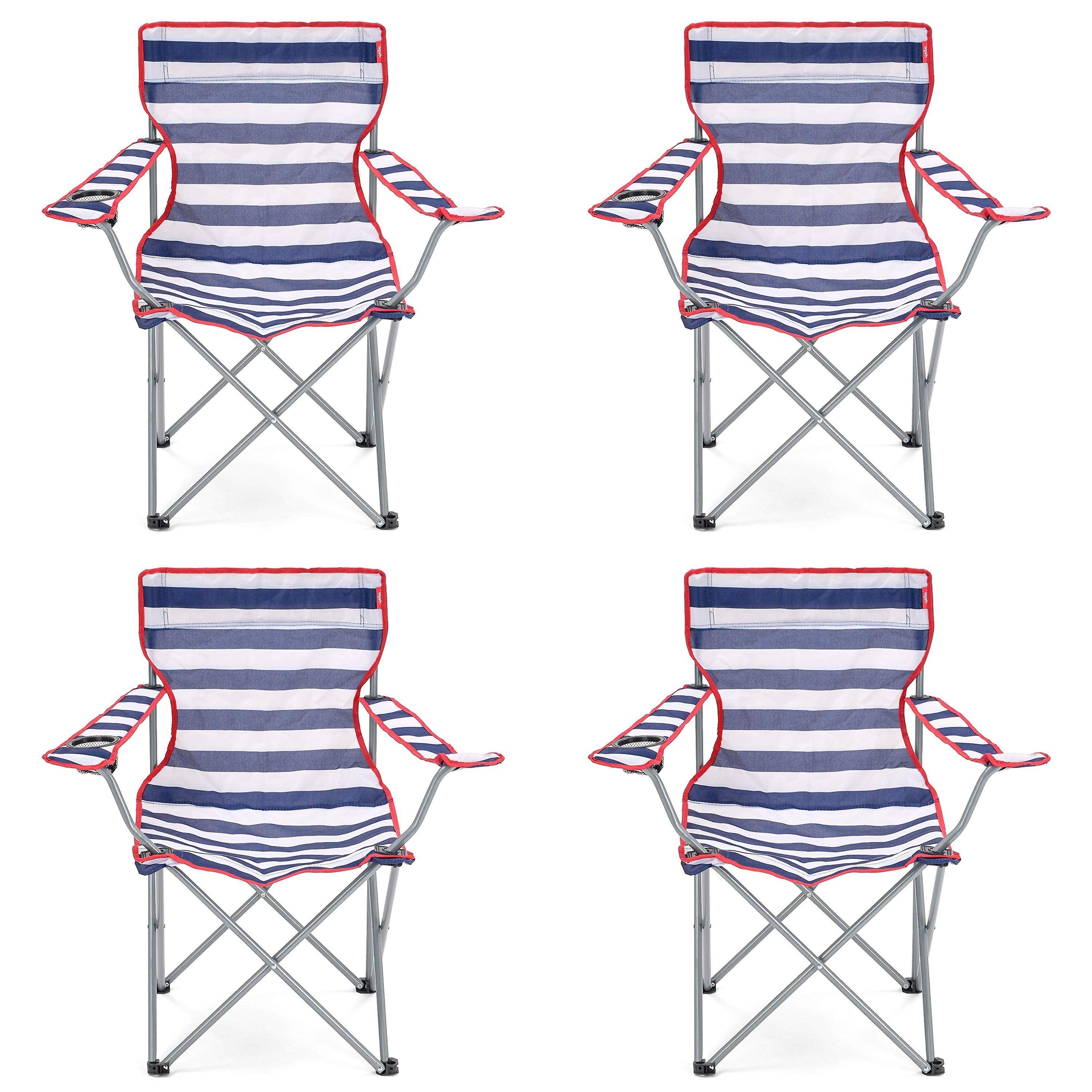 Swell 4 Yello Folding Beach Chairs For Camping Fishing Or Beach Striped Blue White Caraccident5 Cool Chair Designs And Ideas Caraccident5Info
