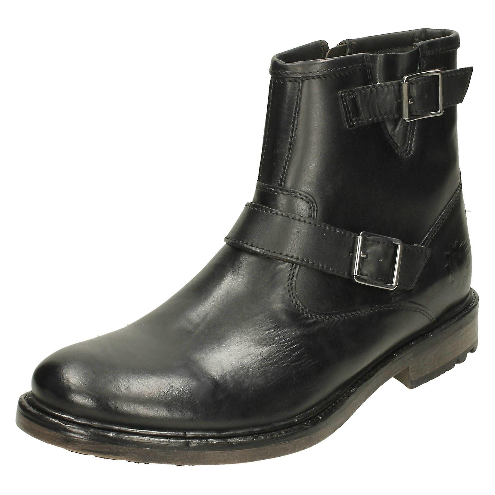 85424893bec Mens Base London Buckle Detail Ankle Boots Zinc - Waxy Black Leather - UK  Size 6 - EU Size 40 - US Size 7