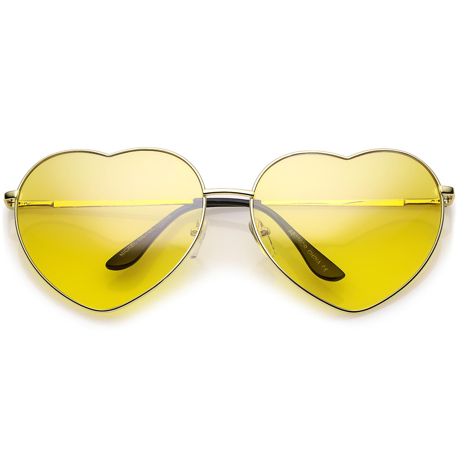 b70d90adb6 Oversize Metal Heart Sunglasses With Thin Metal Arms Colored Lens 70mm