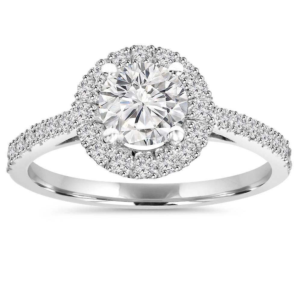 1ct Halo Okrągły Diament Pierścionek Zaręczynowy 14k Białe Złoto