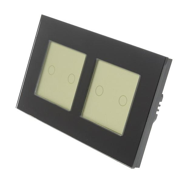 I LumoS Black Glass Double Frame 4 Gang 1 Way Remote & Dimmer Touch LED  Light Switch Gold Insert