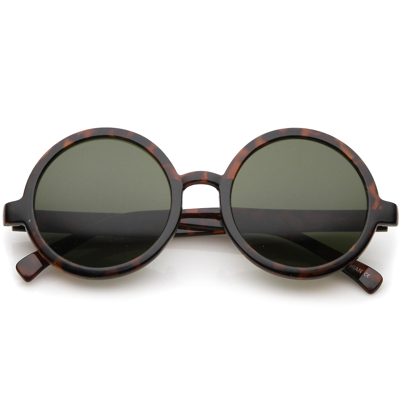 d9477eef9 Classic Retro Horn Rimmed Neutral-Colored Lens Round Sunglasses 52mm ...