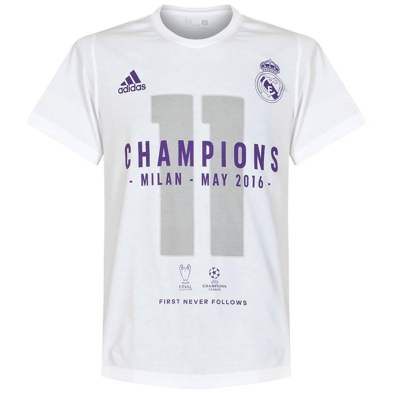 best service 1529a 67ec3 adidas Real Madrid UCL Champions League 2016 Winners Mens Tee / T-shirt
