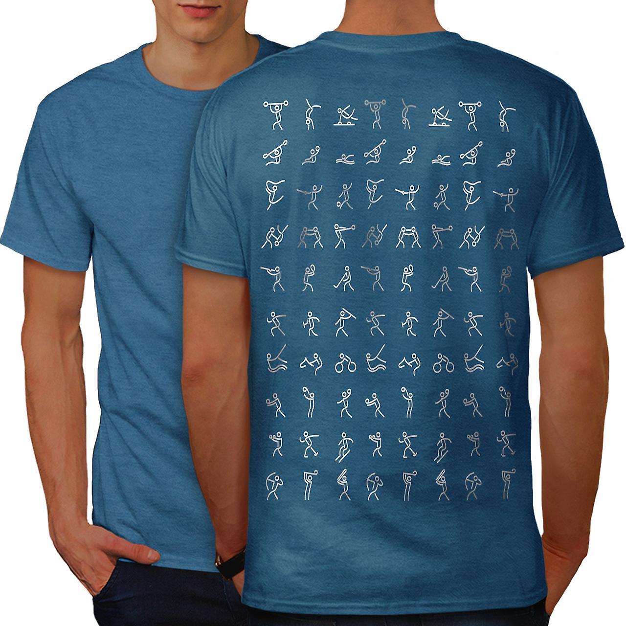 Drawing Sport Fashion Men Royal Bluet Shirt Back Wellcoda Fruugo