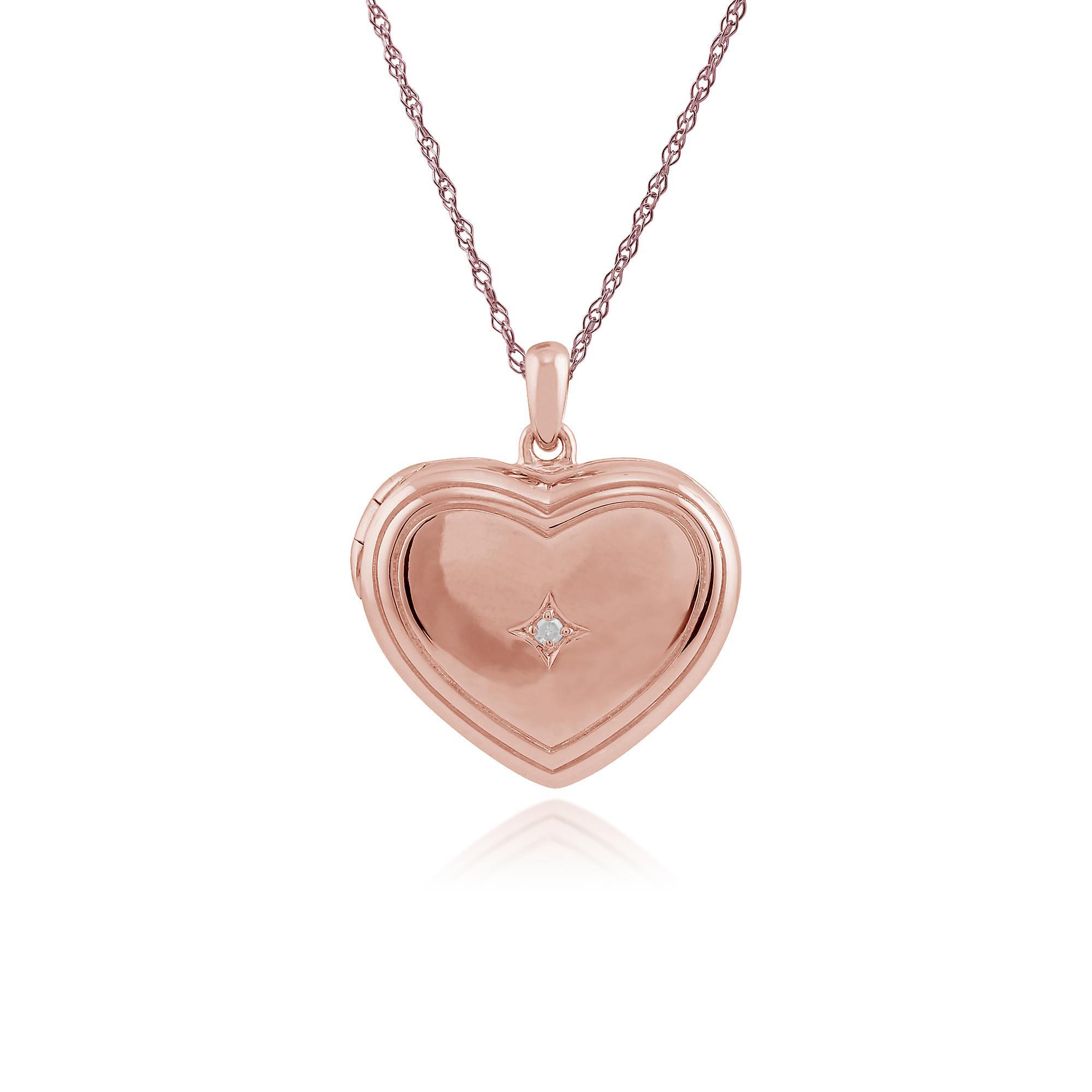 Rose guld pläterat Sterling Silver 1pt diamant hjärta 45cm medaljong  halsband c691a42b09d8d