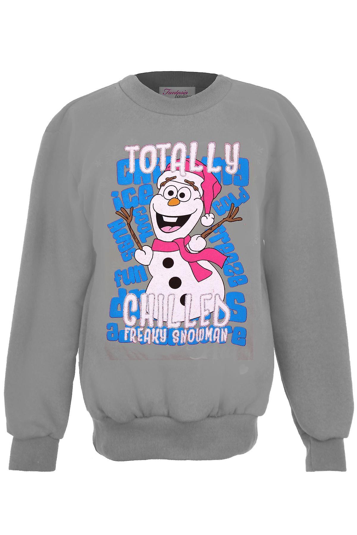 Children/'s Christmas Festive XMAS Frozen Snowman Olaf Girls Fleece Lined Jumper