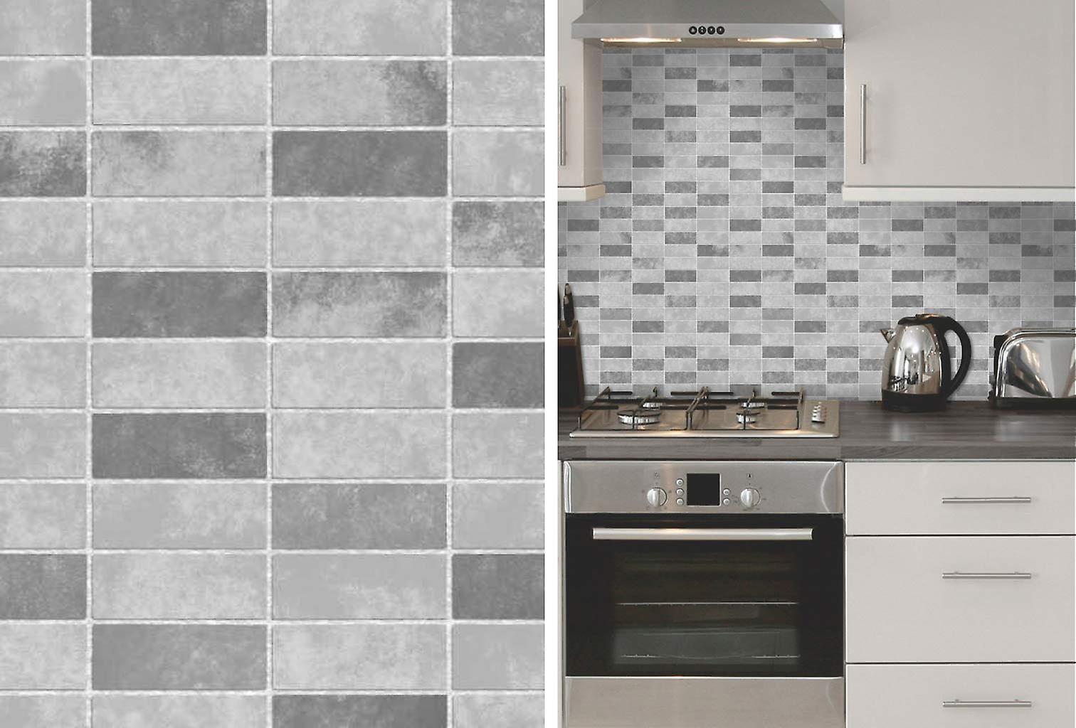 Grey Stone Tile Effect Expanded Vinyl Kitchen Bathroom Wallpaper by ...