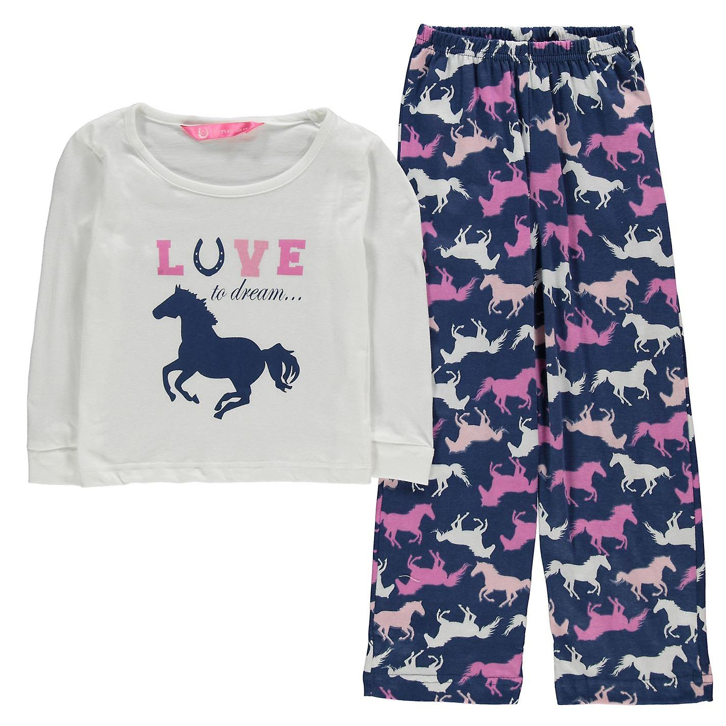 4f6854aa90 Dream Kids Girls Pyjama Infant Set Long Sleeve Crew Neck Cotton Print  Straight