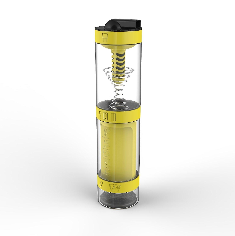 intelishake hummel gelb shaker flasche fach multi protein workout saft mit wasser. Black Bedroom Furniture Sets. Home Design Ideas