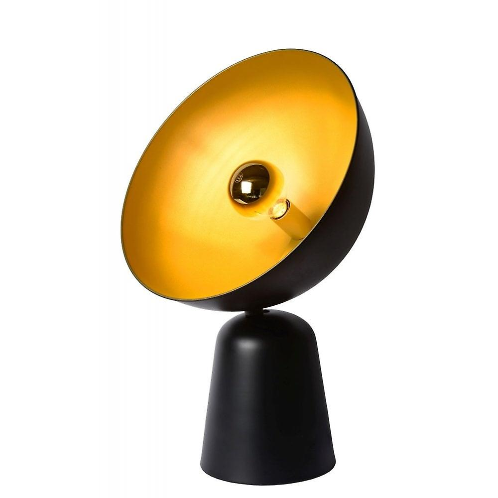 Lucide Vidor Retro Half Round Metal Black And Gold Table Lamp
