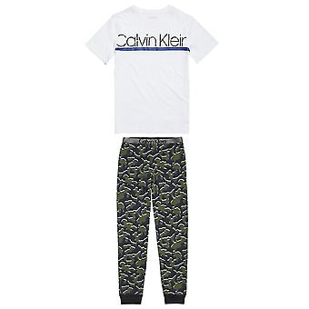 Calvin Klein Boys Customized Stretch PJ Set, Blanc / Camo Print, 8-10 ans