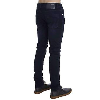 Dark Blue Cotton Stretch Slim Skinny Fit Jeans -- SIG3276485