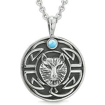 Amulet rohkeutta viisautta Wolf antiikin Viking Celtic solmu simuloitu turkoosi ProtectiNecklace