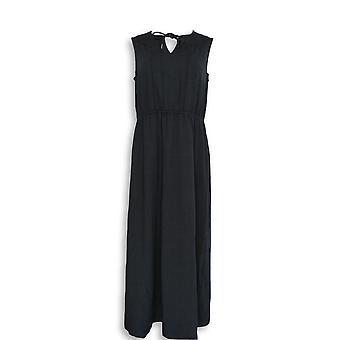 Isaac Mizrahi Live! Petite Dress MP Split V-Neck Black A276733