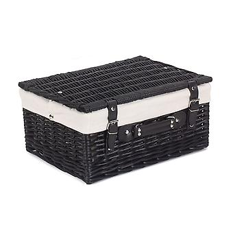 41cm Empty Black Willow Picnic Basket With White Lining