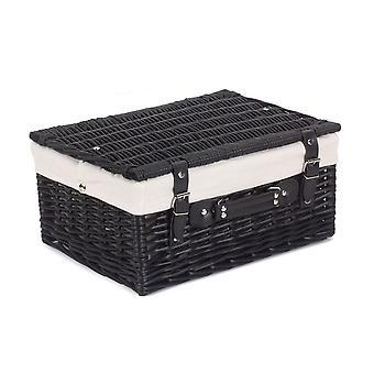 41cm Panier de pique-nique noir vide de saule avec doublure blanche