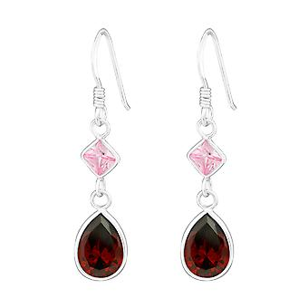 Hanging Square and Tear Drop - 925 Sterling Silver Cubic Zirconia Earrings - W18769X