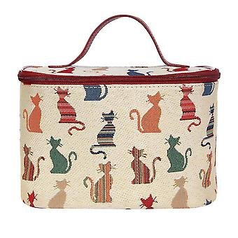 Cheeky cat makeup bag by signare tapestry / toil-cheky