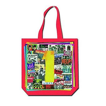 The Beatles Tote Bag Ones album cover logo Official New Red zip top 38cm x 38cm