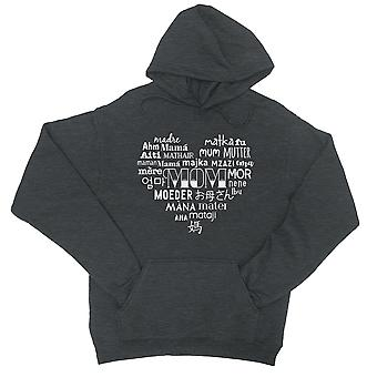 Mom Different Languages Unisex Charcoal Grey Hoodie Cute Mom Gift