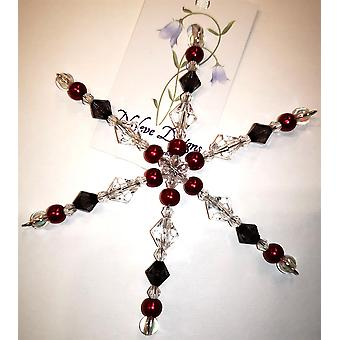 Handmade hanging Snowflake decoration in Grey, Red by Nyleve Designs