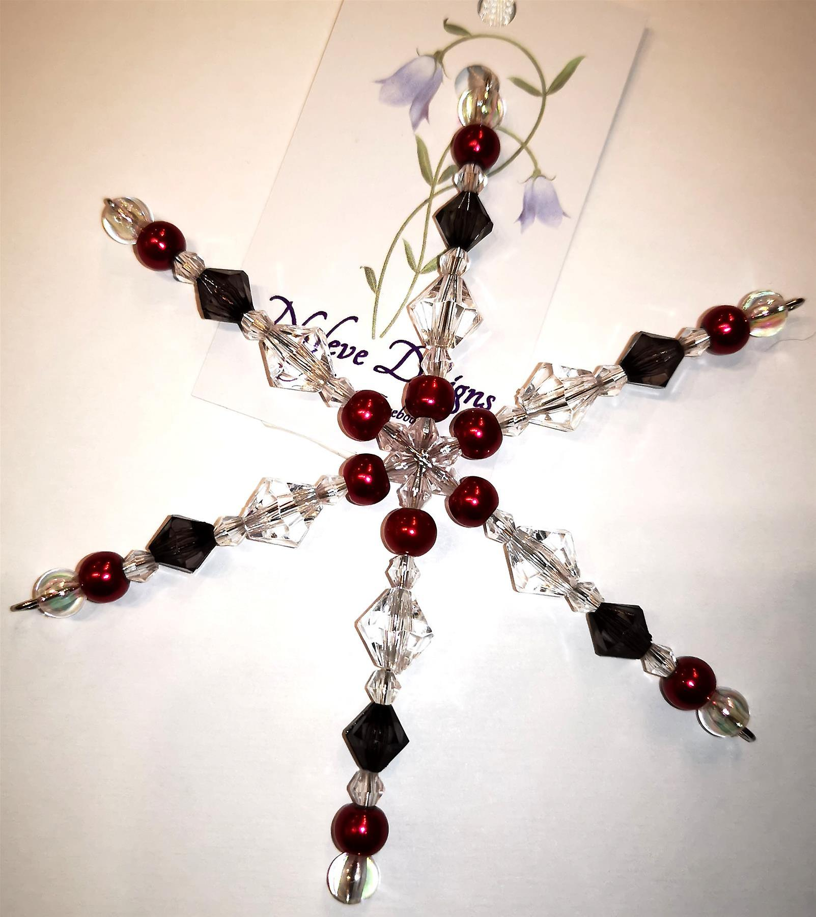Nyleve Designs handmade hanging Snowflake decoration in Grey, Red