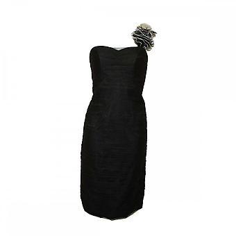 Ronald Joyce One Shoulder Ruffle Detail Net Dress