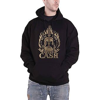 Johnny Cash Hoodie Ring Of Fire Logo new Official Mens Black Pullover