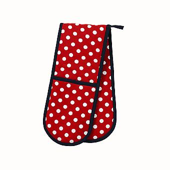 Dexam Polka Double Oven Glove, Red