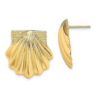 14k gull kamskjell shell øredobber måler 17.7x17.15mm brede smykker gaver til kvinner - 4,5 gram