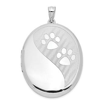 925 Sterling Silver Engravable Rhodium plated Dog Cat Pet Paw Prints Ash Holder Oval Photo Locket Pendant Necklace Jewel