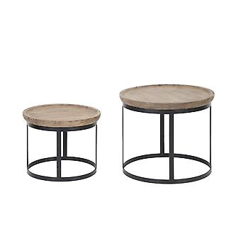 Light & Living Coffee Table Set Of 2 43x35 And 53x45cm Machala Wood-Black