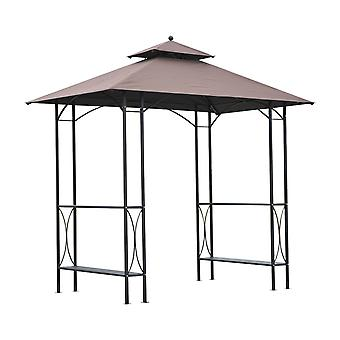 Outsunny 2.5 x 1.5m BBQ Tent Canopy Patio Outdoor Awning Gazebo Party Sun Shelter - Coffee