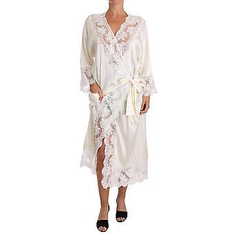 Dolce & Gabbana White Silk Lace Sleepwear Kimono Lingerie
