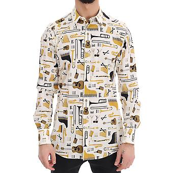 Dolce & Gabbana White Jazz Gold Slim Fit Shirt