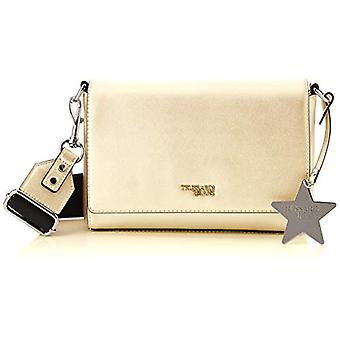 Trussardi Jeans T-Easy Fighter Charm Star Logo Bag with Women's Gold Strap (Metal Gold) 24x16x8 cm (W x H x L)